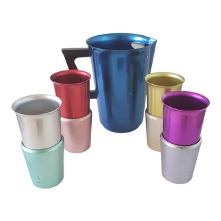 Vintage Mid-Century Modern Anodized Colored Aluminum Pitcher, Tumblers, Holders -Set of 9 For Sale