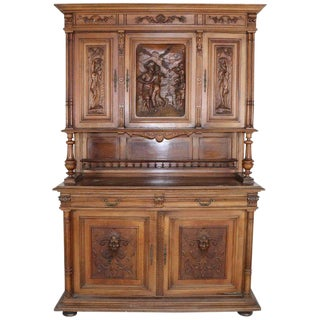 19th Century Italian Renaissance Style Walnut Carved Sideboard For Sale