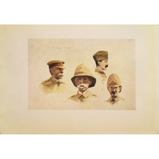 """M. Menpes 1901 """"Lord Roberts and Stuff"""" Lithograph"""