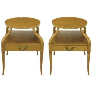 Pair of 1940s Mahogany Plateau Side Tables With Sinuous Legs For Sale