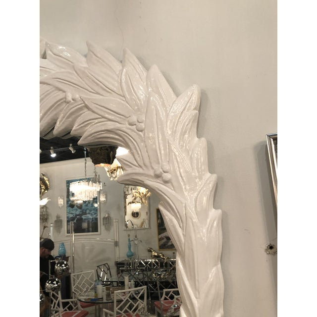 Glass Vintage White Lacquered Palm Frond Wall Mirror For Sale - Image 7 of 11