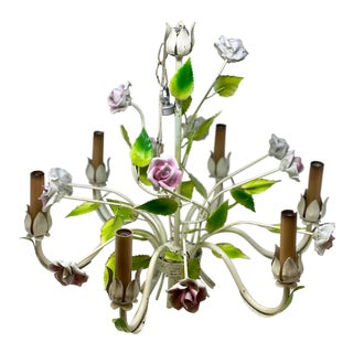 Vintage French-Style Tole 6 Light Chandelier Bouquet of Flowers For Sale