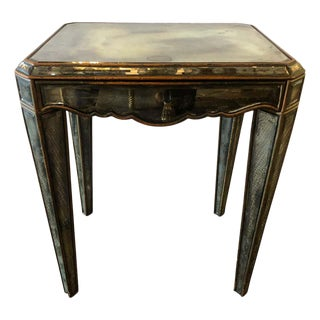 Hollywood Regency Distressed Beveled Mirror Single Draw End, Side Table or Desk For Sale