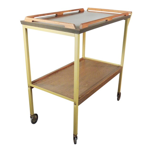 Mid-Century Wood Tray Bar Cart - Image 1 of 5