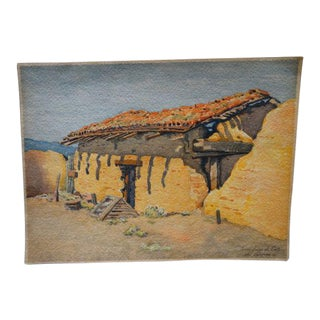 "Unframed ""Adobe House"" Watercolor For Sale"