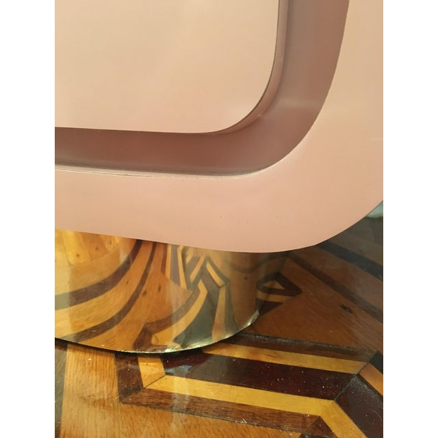 Modern Rose Pink Laminate Armoire With Brass Base For Sale - Image 10 of 12