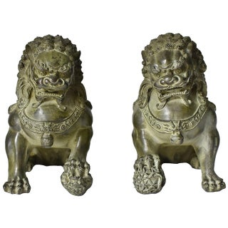 Large Scale Bronze Foo Dogs - a Pair For Sale