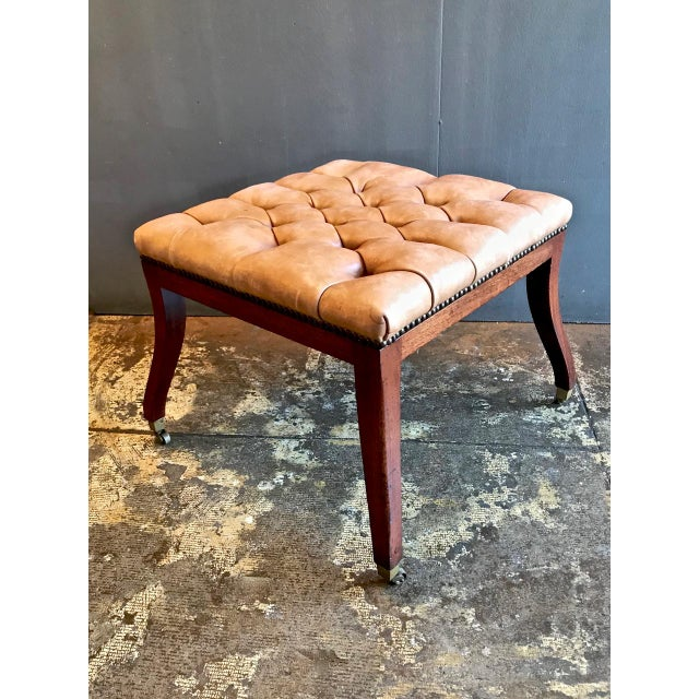 Regency-Style Tufted Leather Bench For Sale In Los Angeles - Image 6 of 6