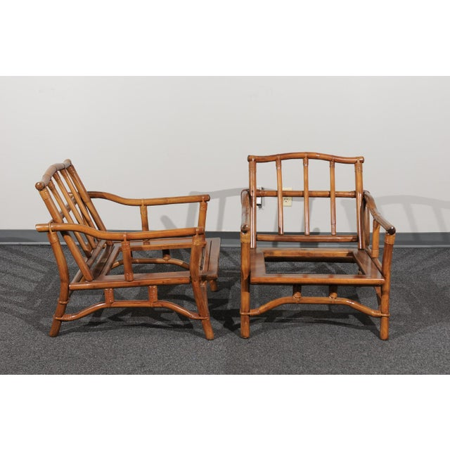 Brown Beautiful Restored Pair of Pagoda Style Loungers by Ficks Reed, circa 1970 For Sale - Image 8 of 13