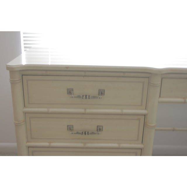 purchased brand new in 1978...in pristine original condition. Unaltered. Chinoiserie, Hollywood regency, faux bamboo desk.