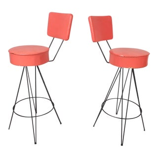 Pair of Vintage Modern Swivel Bar Stools For Sale
