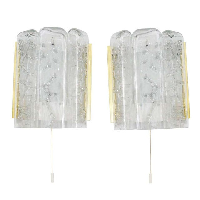 Mid-Century Modern Doria Leuchten Brass and Glass Sconces - a Pair For Sale - Image 10 of 11