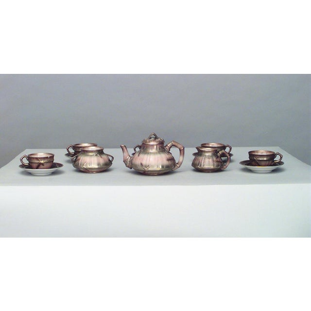 Tan English Victorian Beige Porcelain and Gilt 13 Piece Tea Set For Sale - Image 8 of 8