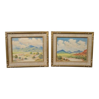 Roger Scott California Landscape Oil Paintings on Canvas - a Pair For Sale