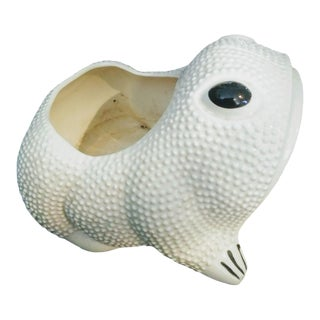 Vintage 20th Century White Hobnail Frog Planter Style of Jean Roger For Sale