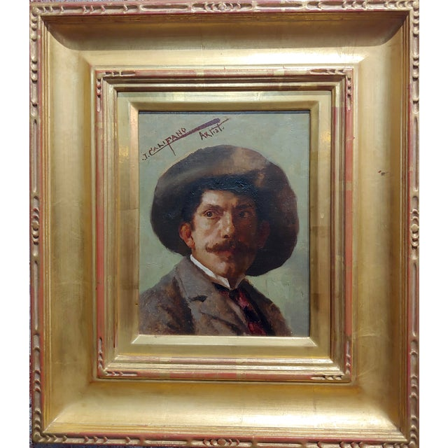 John Califano -Artist Self Portrait -California Impressionist -Oil painting oil painting on canvas - Signed circa 1910s...