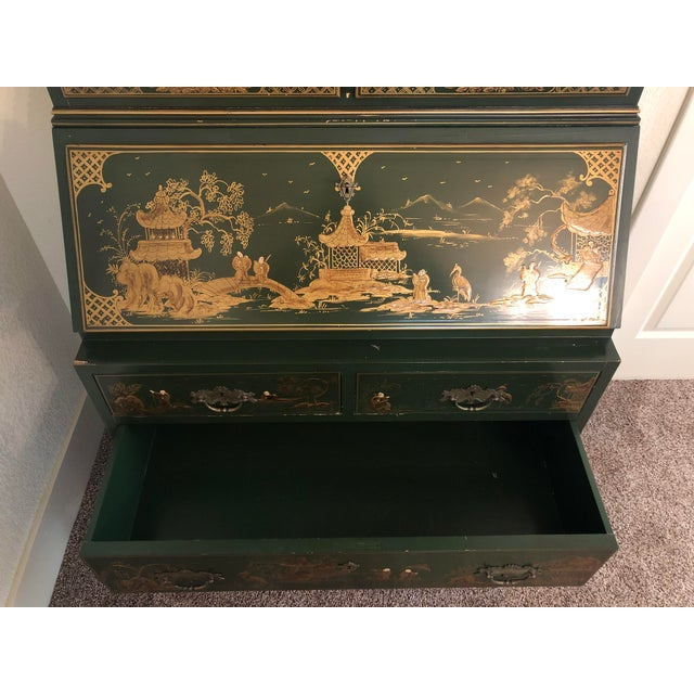 1990s Chinoiserie Emerald Green Color Secretary Cabinet For Sale - Image 5 of 9