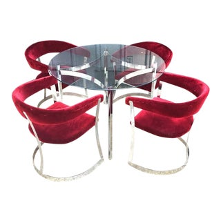 Anton Lorenz for Thonet Style Chrome & Velvet Barrel Chairs and Dining Table Set - 5 Pieces For Sale