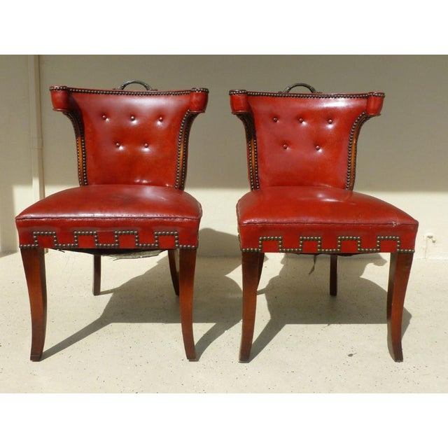 40's Klismos Dorothy Draper Style Hollywood Regency Red Leather and Brass Tack Chairs -A Pair- P For Sale In Miami - Image 6 of 8