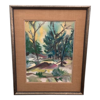 1980s Abstract Forest Landscape Watercolor Painting, Framed For Sale