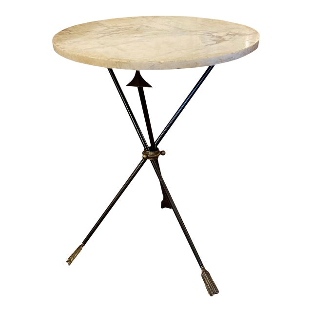 French Carrara Marble and Iron Triad Base Table For Sale