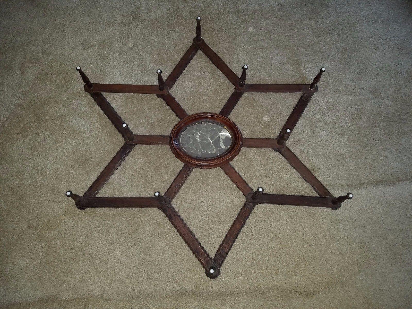 Superb Antique Victorian 6 Point Star Form 12 Peg Accordion Hat Rack + Mirror   Nice Ideas