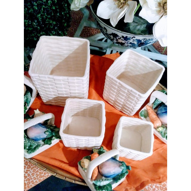 Fitz and Floyd Fitz and Floyd 4 Piece Ceramic Weave Basket Vegetable Canister Set For Sale - Image 4 of 7