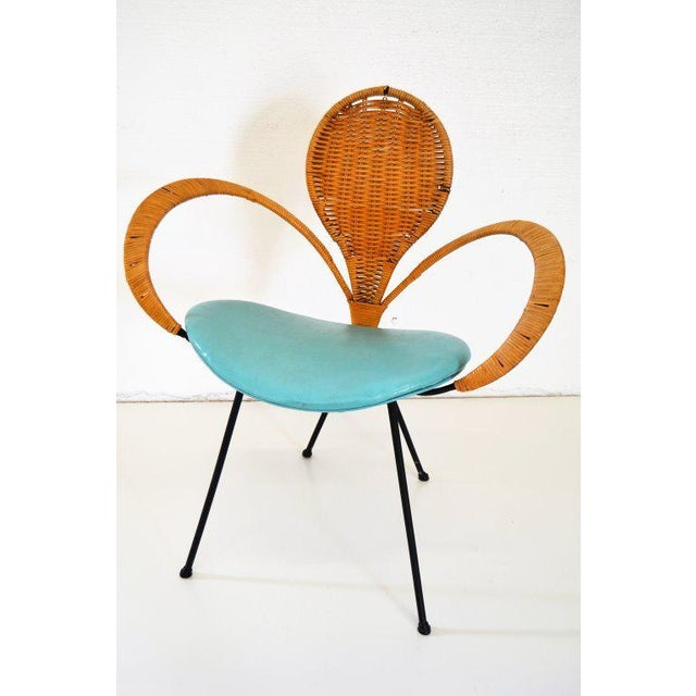 1970s Mid-Century Style Rattan Armchair For Sale - Image 5 of 5