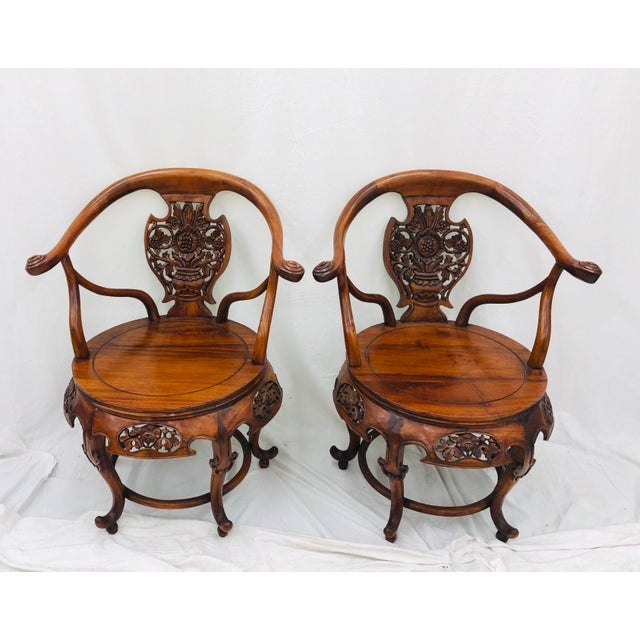 Early 20th Century Pair Antique Carved Arm Chairs For Sale - Image 5 of 13