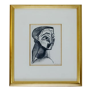1950s Mid Century Modern Framed Signed Pablo Picasso Portrait De Femme Lithograph For Sale