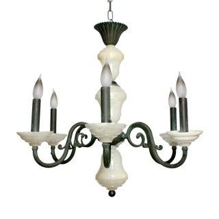 Vintage Art Deco Nouveau Alabaster Onyx Iron Chandelier Light For Sale