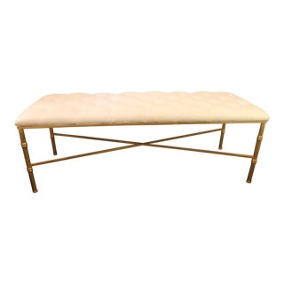Worlds Away White Tufted Leatherette Gold Faux Bamboo Bench For Sale