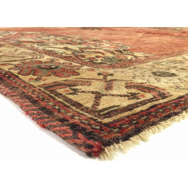 1960s Vintage Turkish Oushak Area Rug. Handwoven with wool on wool foundation in the Oushak region of Western Turkey. The...