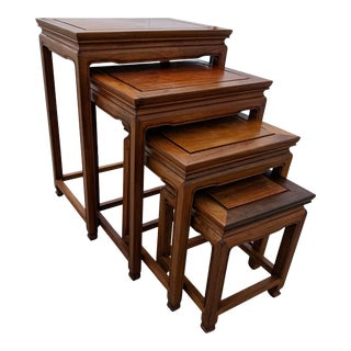 1970s Chinese Rosewood Nesting Tables - Set of 4 For Sale