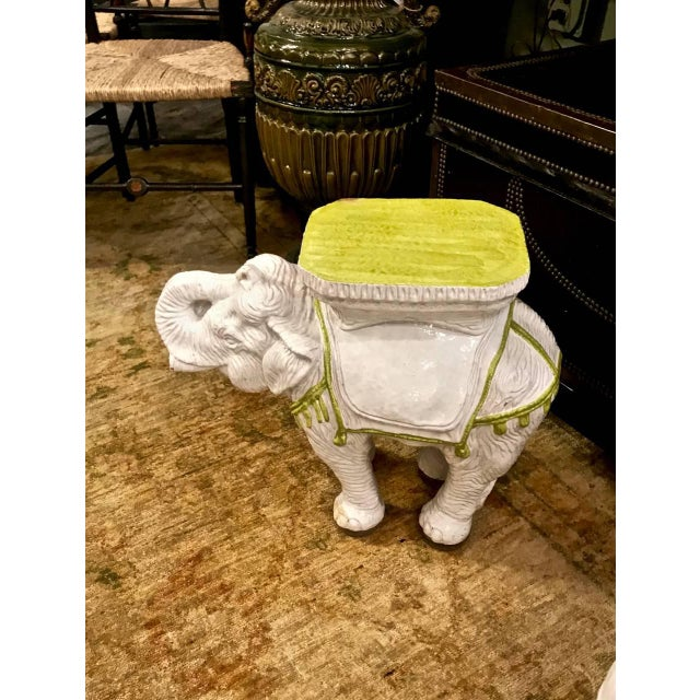 Pair Italian Ceramic Chinoiserie Elephant Garden Stools or Tables For Sale - Image 4 of 9
