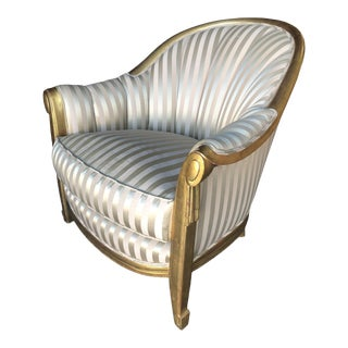 1960s Striped Gold-Tone Hollywood Regency Shell Back Lounge Armchair For Sale