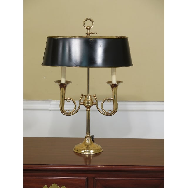 Brass Double Candelabra Trumpet Arm Desk Lamp For Sale - Image 9 of 9
