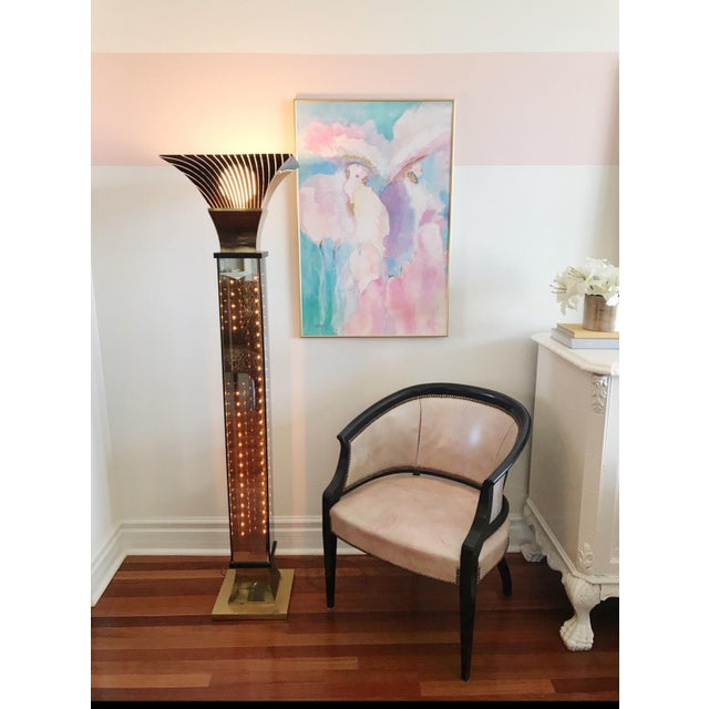 Mid-Century Modern Vintage Art Deco Hollywood Regency Torchiere Floor Lamp For Sale - Image 3 of 7