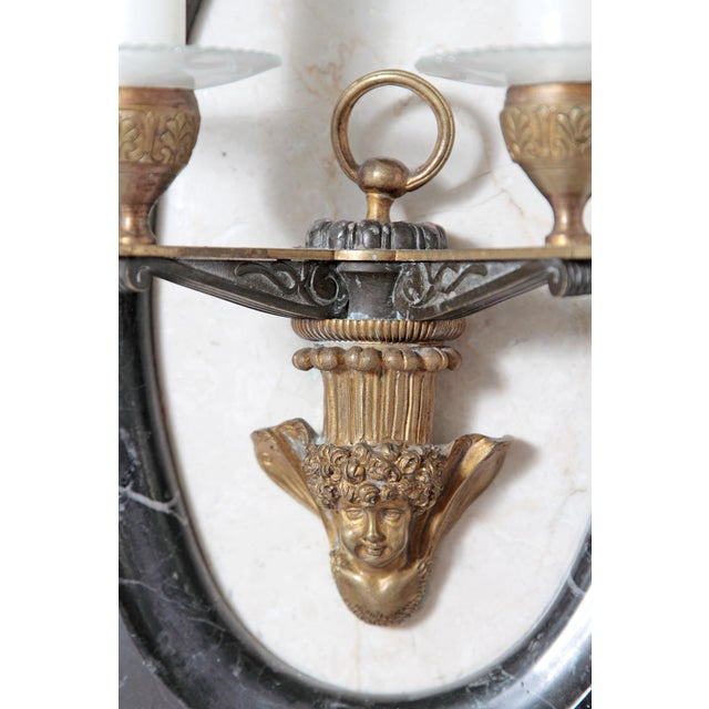 Gold Pair of Neoclassic Style Two Light Sconces For Sale - Image 8 of 11