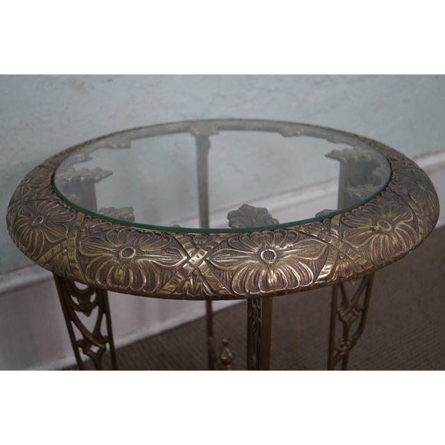 Art Deco Antique Brass & Glass Round Side Table - Image 3 of 10