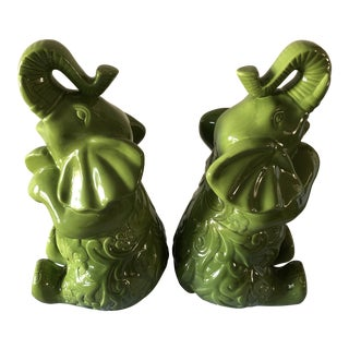 Asian Garden Elephants Statues - a Pair For Sale