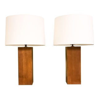 Laurel Mid-Century Wood Column Lamps - A Pair