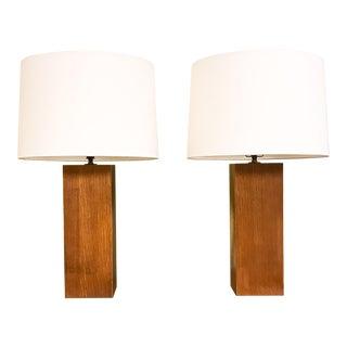 Laurel Mid-Century Wood Column Lamps - A Pair