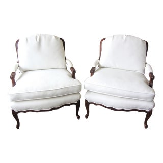 Sam Moore White Vinyl Bergere Arm Chairs-Pair