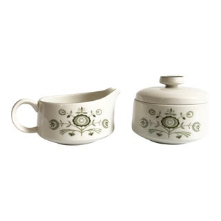 Mid Century Franciscan Heritage Cream and Sugar Set For Sale