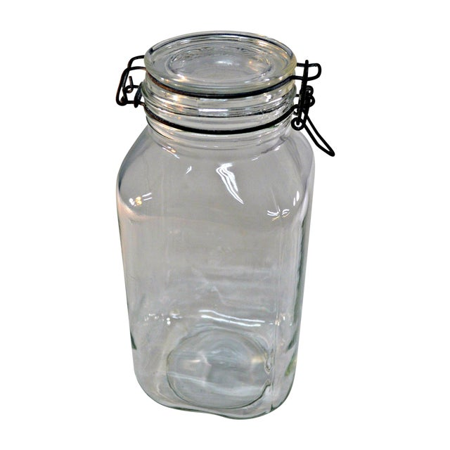 Ermetico clear glass snap lock wire bale clamp storage canning stash jar made in Italy.