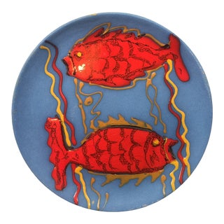 Decorative Signed Pisces Pottery Plate For Sale