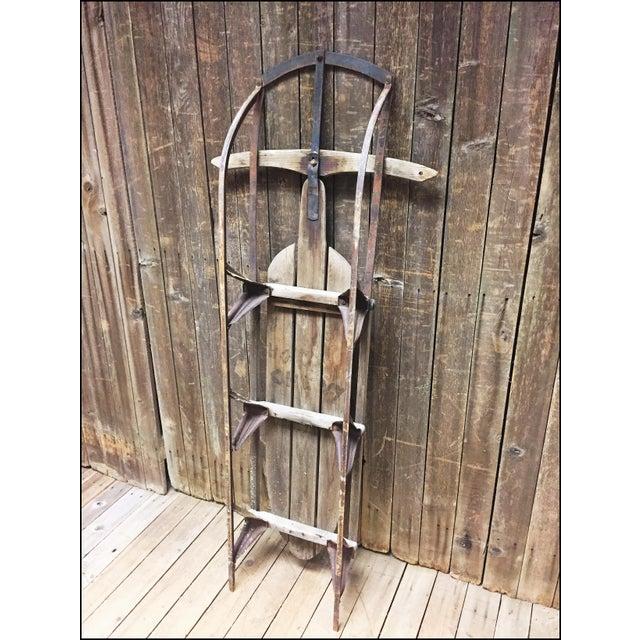 Vintage Weathered Wood & Metal Runner Sled -- Lightning Guider For Sale - Image 9 of 11