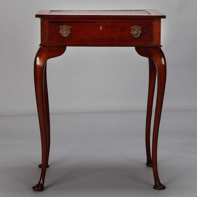 Traditional Mahogany Side Table Leather Top and Single Drawer For Sale - Image 3 of 7