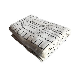 "Large Black & White Mud Cloth Textile Mali 82"" by 70"" For Sale"